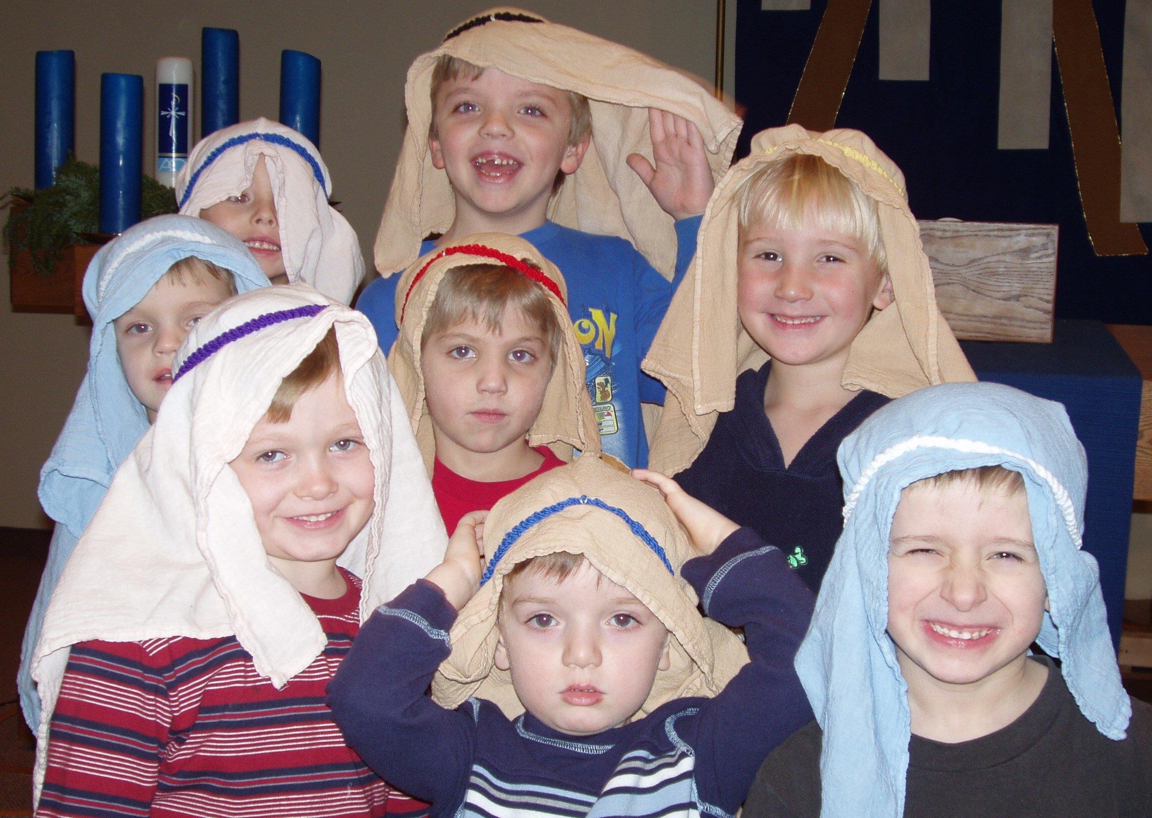 A bunch of preschool shepherds in Christmas All Around.