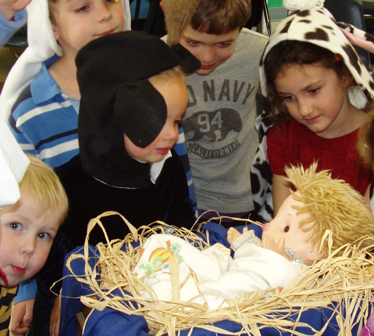 Pre-K children dressed in animal costumes in Let's Dress Up for Christmas.