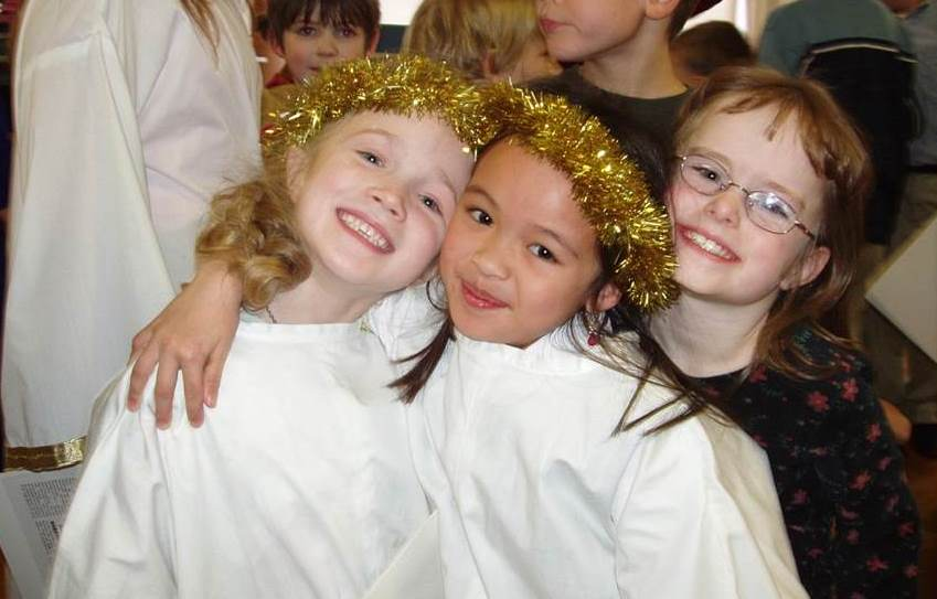 Pre-K angels in Say Cheese for Christmas musical.