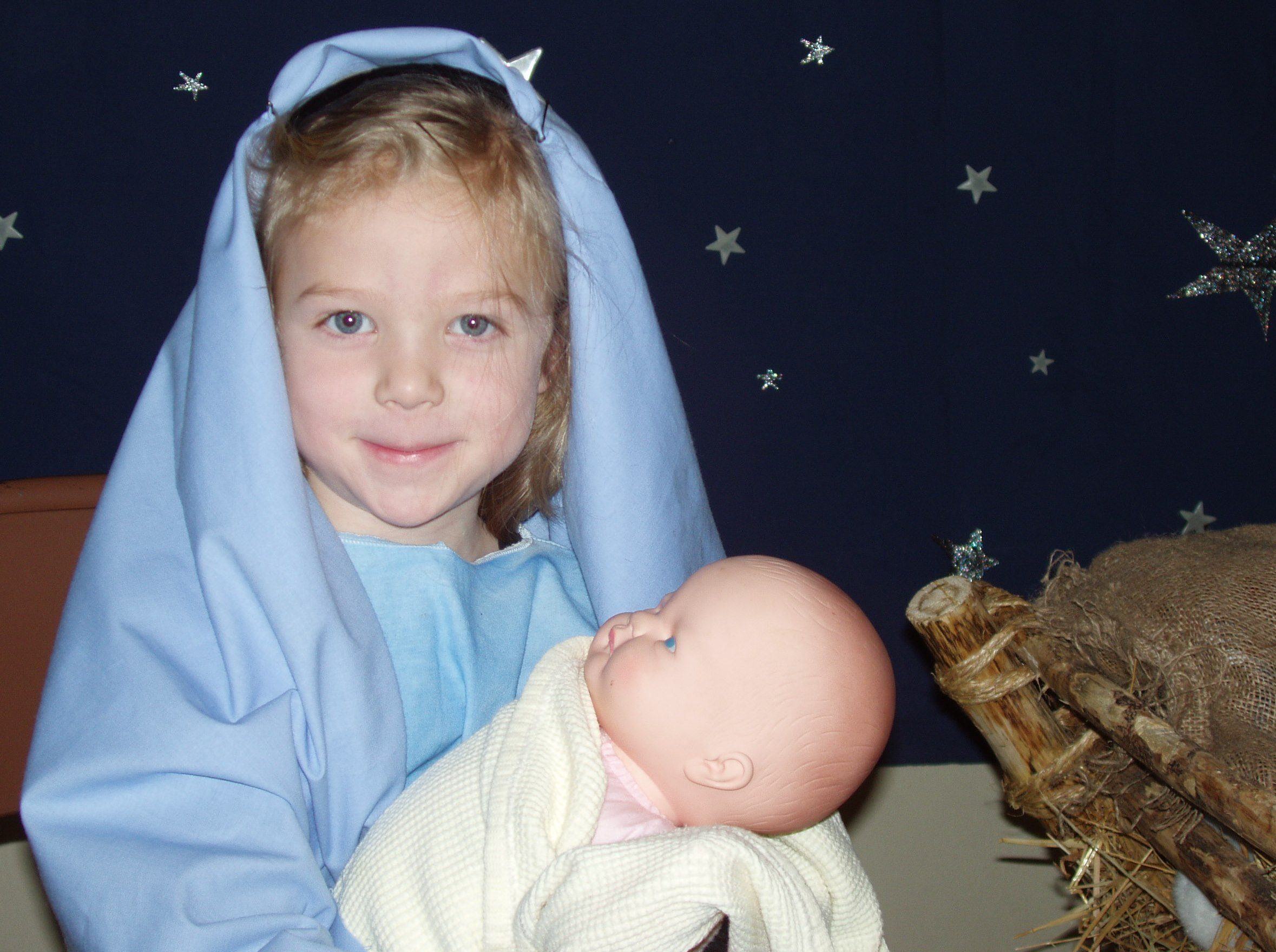 Preschooler dressed up as Mary in Someone Has a Birthday.